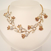Premier High End Corocraft Vine & Flower Necklace Ruby Red & Clear Rhinestones Signed