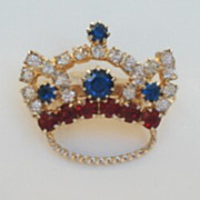 Vintage Patriotic Rhinestone Crown Figural Brooch Pin Red White Blue & Gold