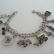 SOLD Vintage Sterling Silver 10 Charms Bracelet Great Variety