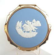 SOLD Vintage STRATTON England Compact Josiah Wedgwood White Cameo on Blue Jasperware NIB