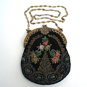EXCELLENT Vintage Art Nouveau Floral Beaded Purse Flapper Length Gilt Floral Chain