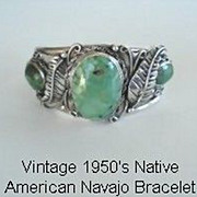 Magnificent 1950's Native American Navajo Bracelet Green Spider Web Turquoise Sterling Silver