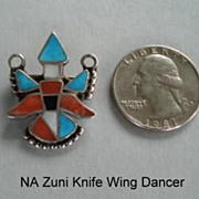 Fabulous Vintage Native American Zuni Colorful Knife Wing Dancer Inlaid Brooch Pendant Sterlin