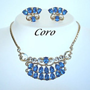 Elaborate Designer Signed Coro Set Sapphire Blue Rhinestones Necklace Earrings