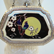 Vintage 1920�s Art Deco Guilloche Enamel Dance Compact Exotic Birds Flowers Full-Moon 90% ...