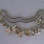 SOLD 1940's Triple Link Charm Bracelet 19 CHARMS Sterling Silver Many Mechanical