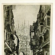 "19th Century English Etching ""Canterbury Gate and Cathedral"" by British Etcher Prest"