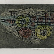 Original Abstract Modernist Woodblock by Fumio Fujita (1933- )