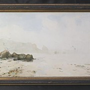 """Low Tide of the French Coast"" Original Painting by Listed George W. Harvey, Cape An"