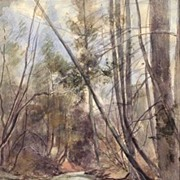1897 Landscape Painting, Grand Rapids, Michigan, by Listed Artist Albert S. Olson