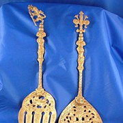 Antique Italian Silverplate Salad Servers Baroque Repose!