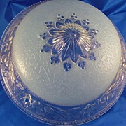 Ceiling Light Blue Floral Frosted Glass 1920-1930's Great!