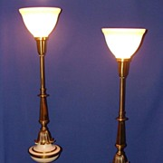 Dramatic Hollywood Stiffel Torchiere Lamps 1950�s Gorgeous Condition!