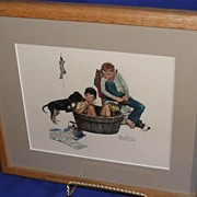 Norman Rockwell Embossed Framed Print A Lickin Good Bath!