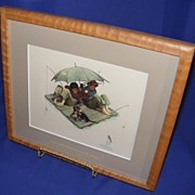Norman Rockwell Embossed Framed Print Fisherman�s Paradise.