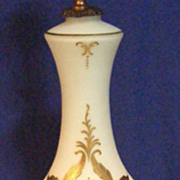 Vintage Victorian Lady Elegant Hand Painted Glass Lamp Brass Foot!