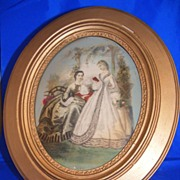Godey�s Fashion Plate w/Carved Gold Frame
