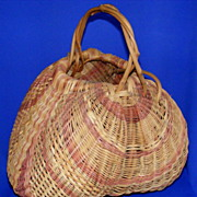Large Hand-Woven Gathering Basket Signed DWS Pristine