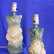 Sweet Ceramic Green Rose Boudoir Lamps