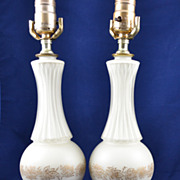 Vintage Hand Painted White and Gold Lamps