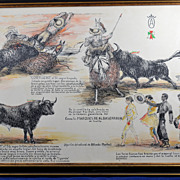 Vintage Bullfight Sketch Original Signed Color Print � Alfred Martos