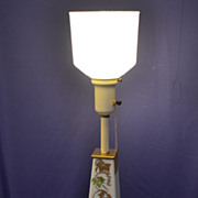 Vintage Hand-Painted-Torchiere Lamp � Glass, Brass, and Eames Style