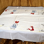 Antique Hand-Made Dutch Girl Embroidered & Appliqued Tablecloth (sm)