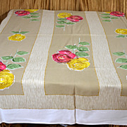 Vintage Tablecloth Retro Excellent Abstract Roses