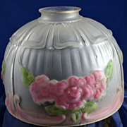 Antique Molded, Hand-Painted Roses On Frosted Glass