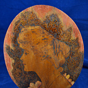 Vintage Hand Etched & Colored Beautiful Lady Portrait on Wood