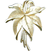 Signed Trifari Goldtone Leaf Cluster Brooch