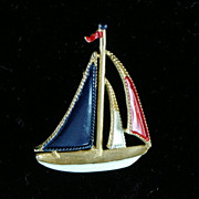 Sailboat Enamel Brooch in Red, White and Blue