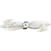 Silvertone Bow Tie Brooch with Rhinestone Accents