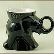 Frankoma Pottery GOP Political Mug 1988 Black