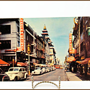 1940's San Francisco Chinatown Post Card in Mirro-Krome