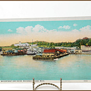 Waterfront and Docks Mackinac Island C.T. American Art 96684