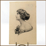 REDUCED Glamour Lady Invitation Bergman Quality Post Card 1915