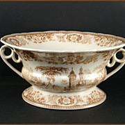 Two Handled Transfer Decorated and Footed Serving Dish