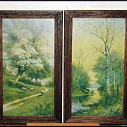 Circa 1905 R. Hill Oak Framed Lithographs