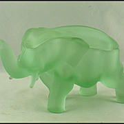 Tiara Glass Green Satin Elephant Powder Jar by Indiana Glass