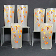 Hall Autumn Leaf Jewel Tea Frosted Tumblers by Libbey 1940's