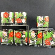Libbey M. Petti Signed Red Poppy Tumblers