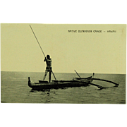 Hawaii and South Seas Curio Co. Post Card of Native Outrigger Canoe