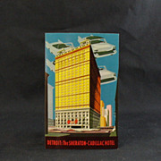 Plastichrome Detroit Sheraton-Cadillac Hotel Post Card Circa 1960