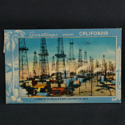 California Scenic Views Linen of A Forest of Oil Wells Circa 1941