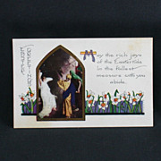 Whitney Made Embossed Easter Greetings Post Card