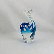 Murano Art Glass Style Reindeer or Elk in Blue and White