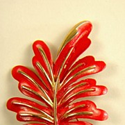 SALE Vintage Coro Pin Gold Toned Red Enamel Leaf Design