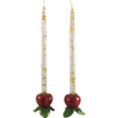 Franciscan Apple Candlesticks w/Lucite and Gold Flake Candles
