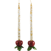 SALE Franciscan Apple Candlesticks w/Lucite and Gold Flake Candles